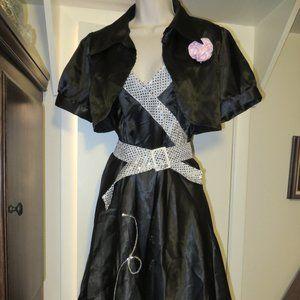 3pc Women Grease-style Halloween Swing Dance Dress